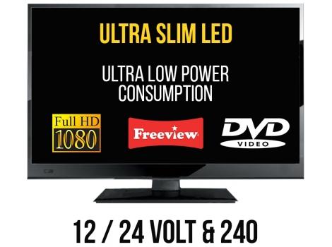 22 12v led full hd digital tv 12 24 volt dvd freeview caravan boat hgv 12v psu included. Black Bedroom Furniture Sets. Home Design Ideas
